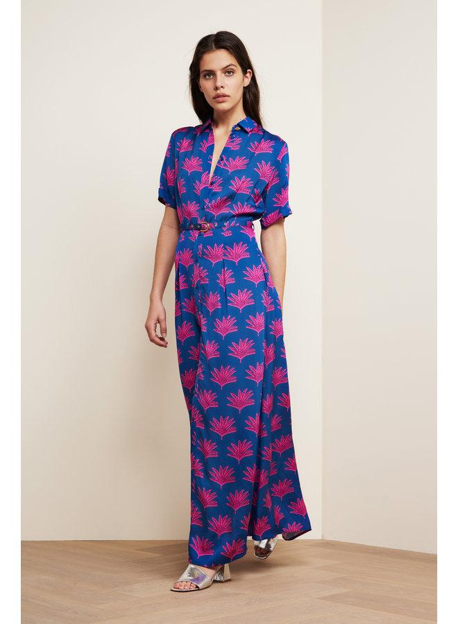 Mia Fan Print Dress - Blue/Pinata Pink