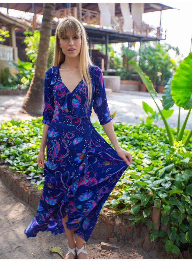 Flamenco Bird maxi dress