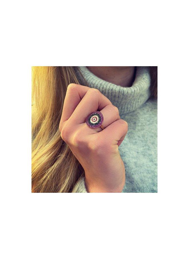 Grande Crimson Bead Ring