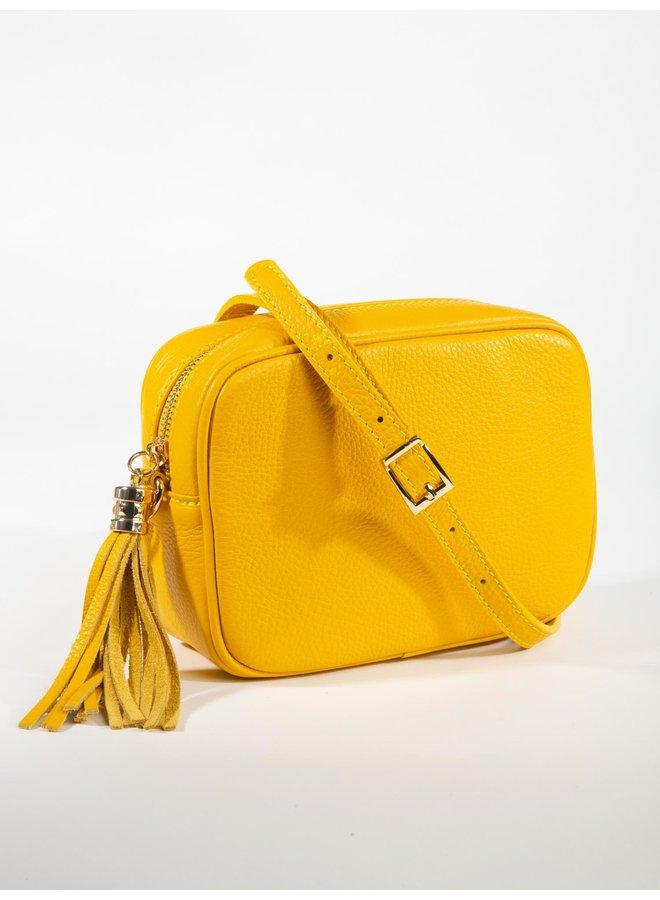 Leather Crossbody Tassel Bag Medium - Yellow