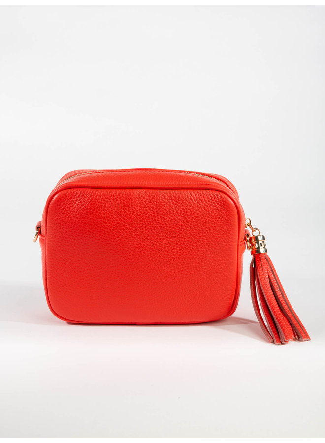 Leather Crossbody Tassel Bag Medium - Coral