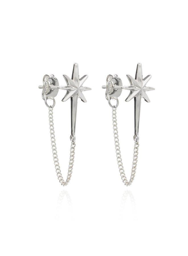 Rock Star Chain Earrings Silver