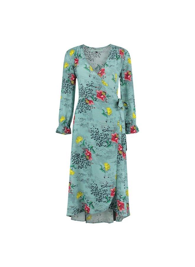 Sky Mountain Wrap Dress - Blue