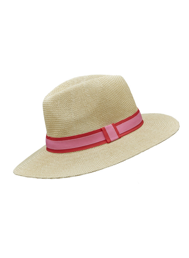 Paper Panama hat - Natural/red/pink