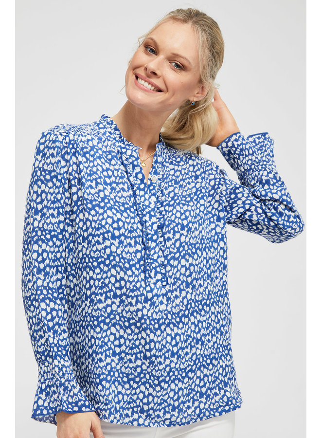 Helena Frill Blouse - Blue