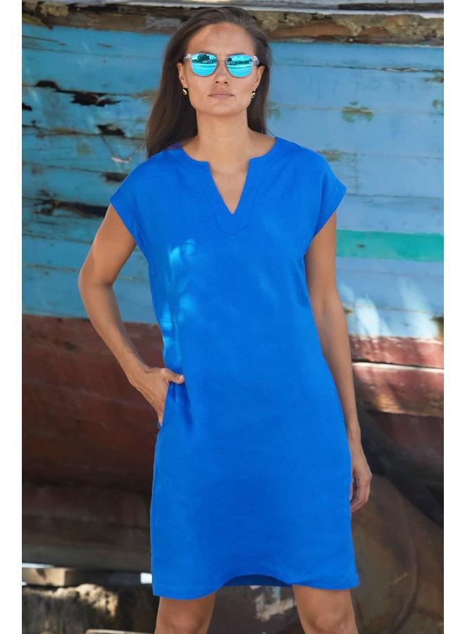 Dori Linen Dress - Cobalt Blue