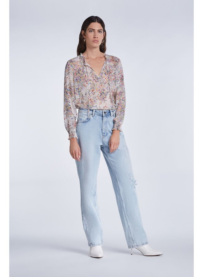 Long sleeved ditsy print top - Off white