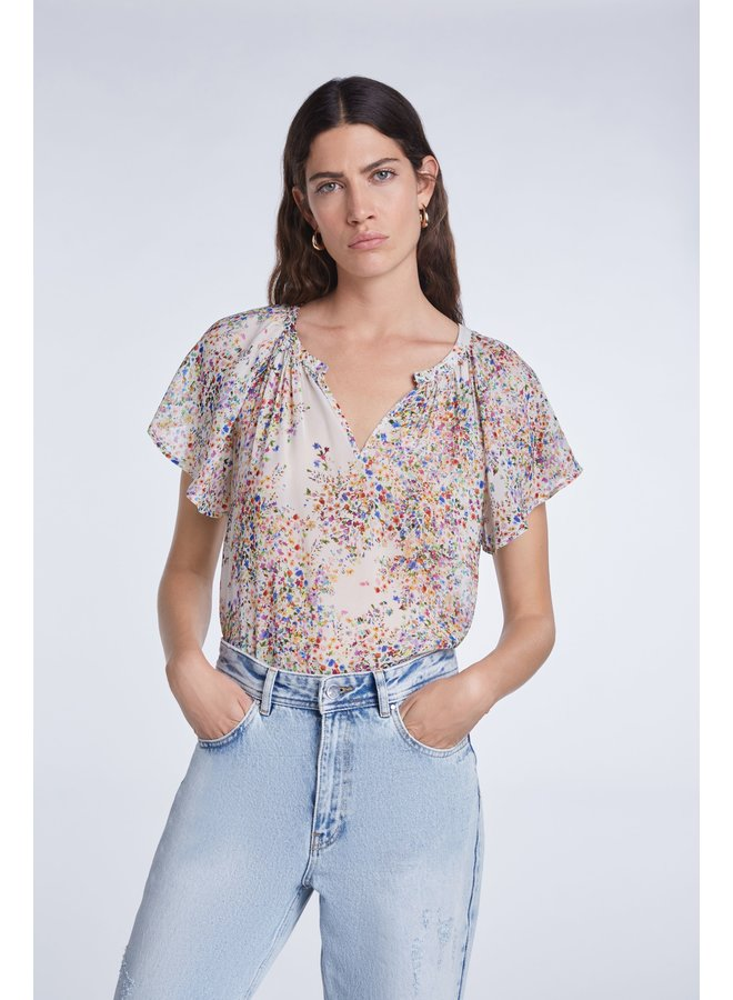 Short Sleeved Ditsy Print Top - Off White