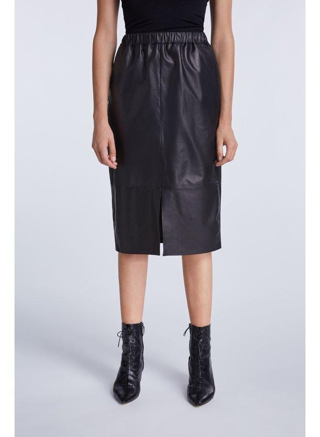 Rock Leather Skirt - Black
