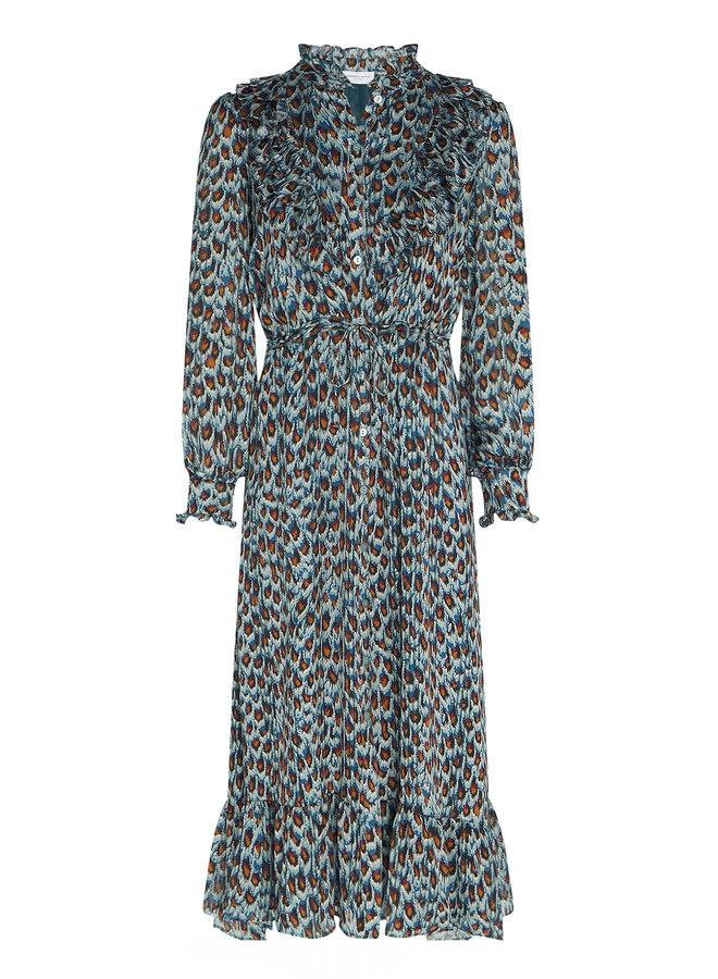 Fia Dress - Dusty Blue/Taupe