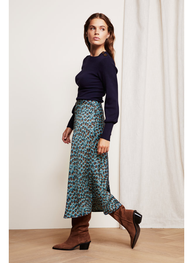 Claire Skirt - Dusty Blue/Taupe