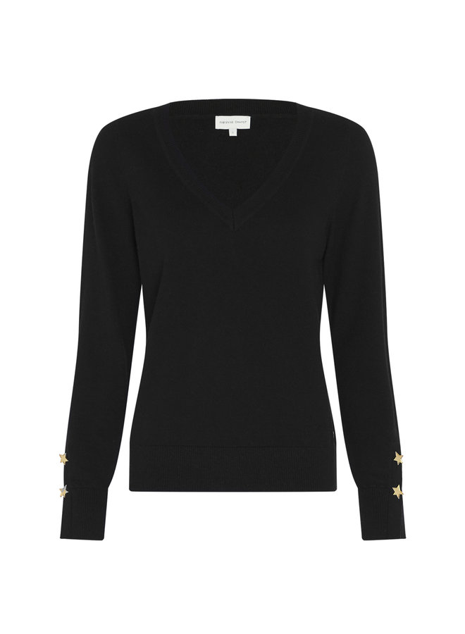 Molly V-neck Pullover - Black