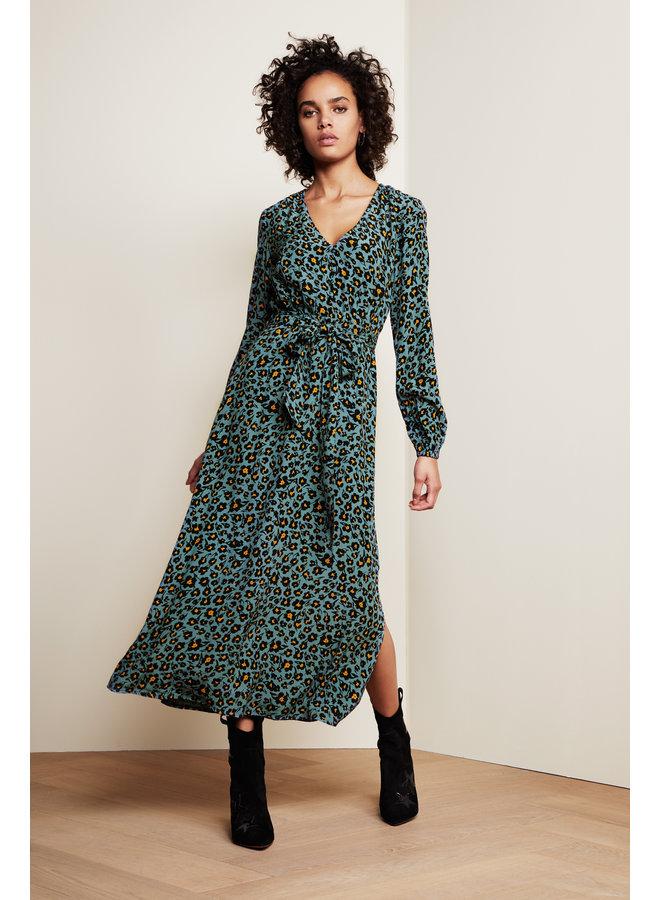 Isabella Dress - Dusty Blue/Black