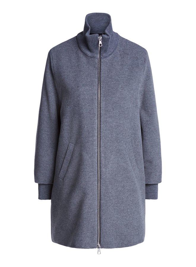Ribbed Neck Coat - Grey