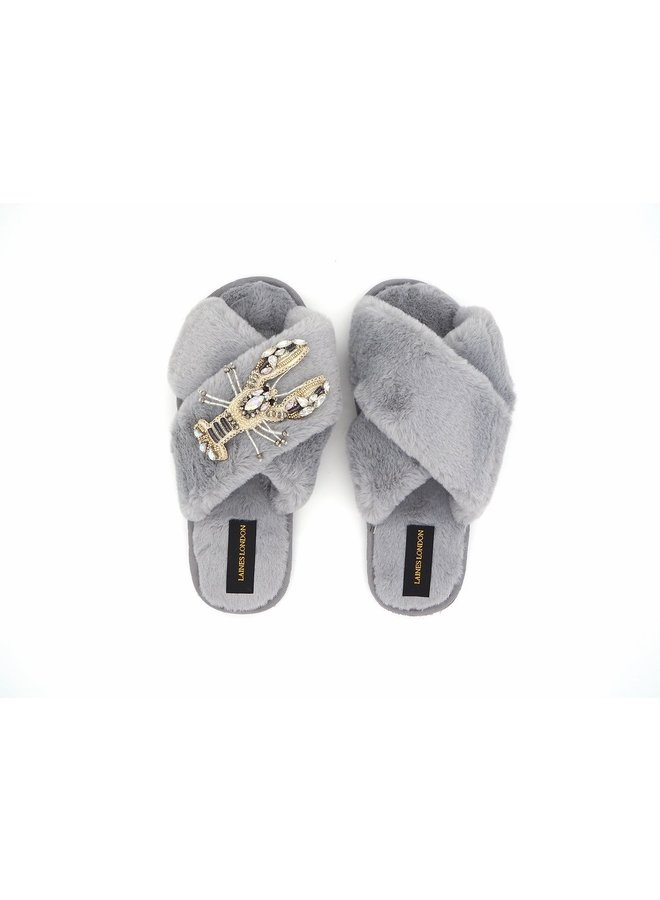 White Crystal Lobster Slippers - Grey