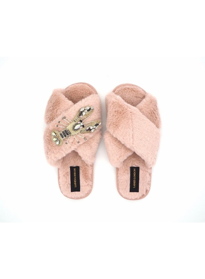 Lobster Slippers - Pink/White Crystal