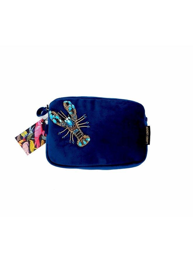 Velvet bag - Navy with Blue Lobster