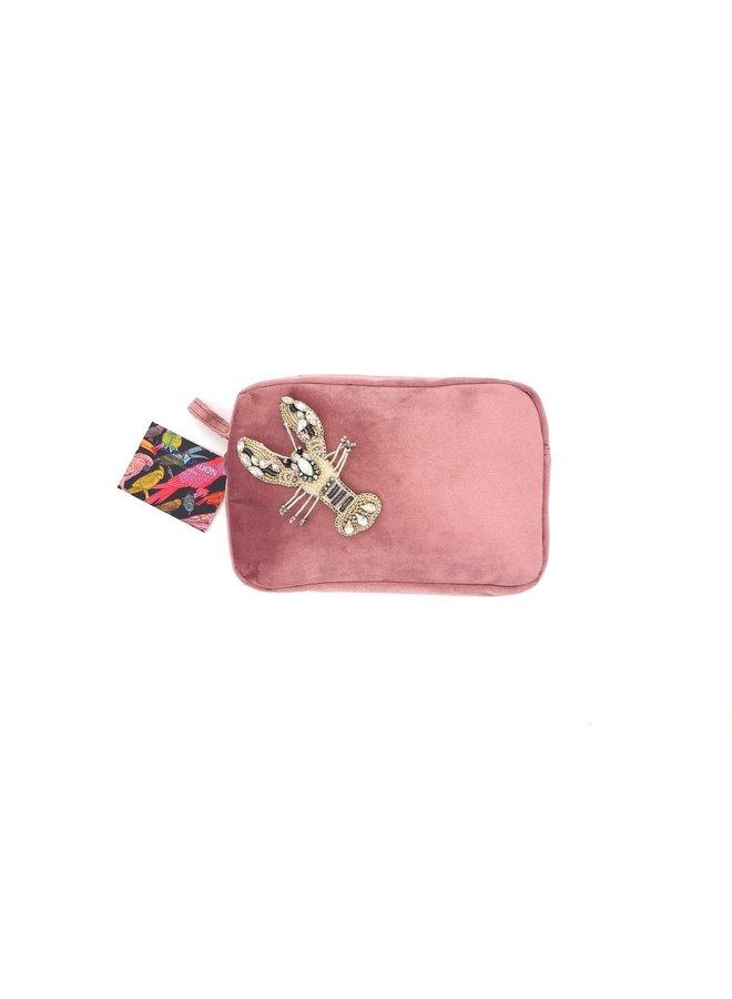 Velvet Bag - Blush Pink with White Lobster