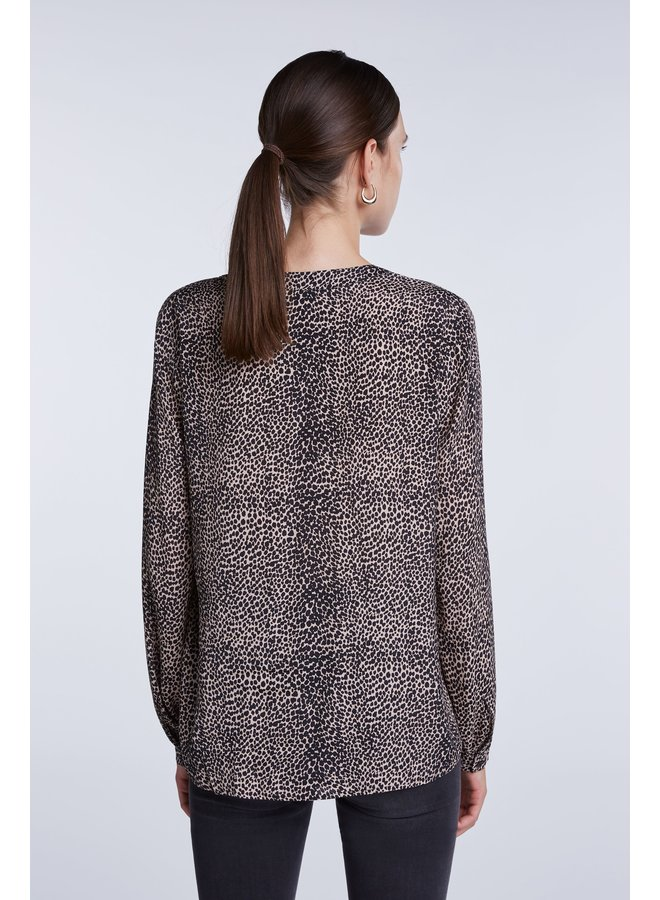 Dot Print Top - Light Stone Grey