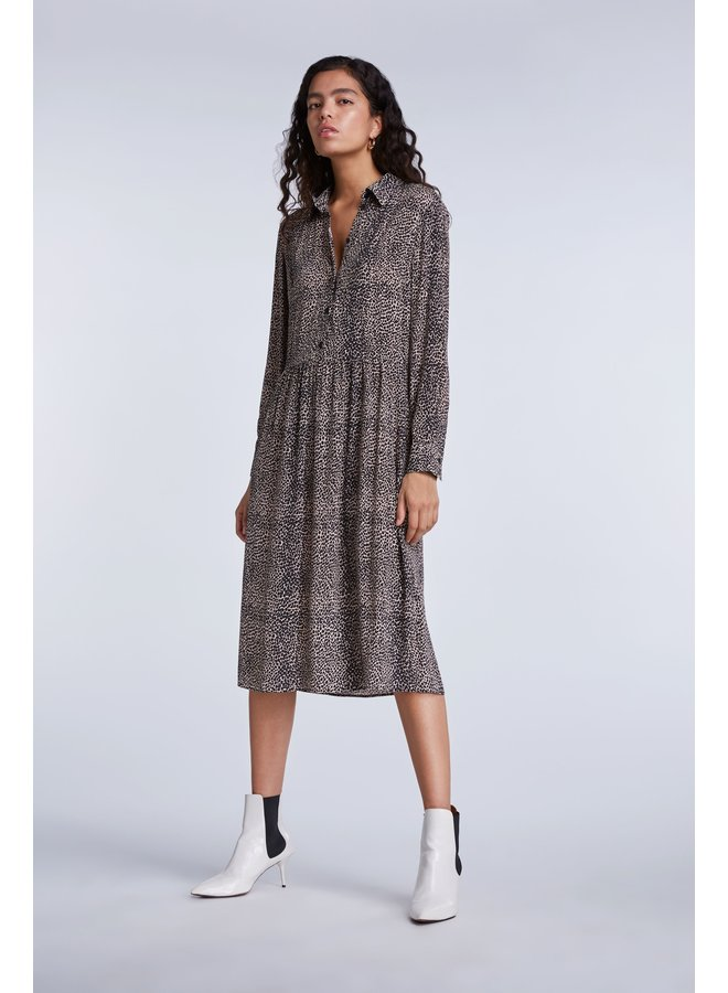 Dot Print Dress - Light Stone Grey