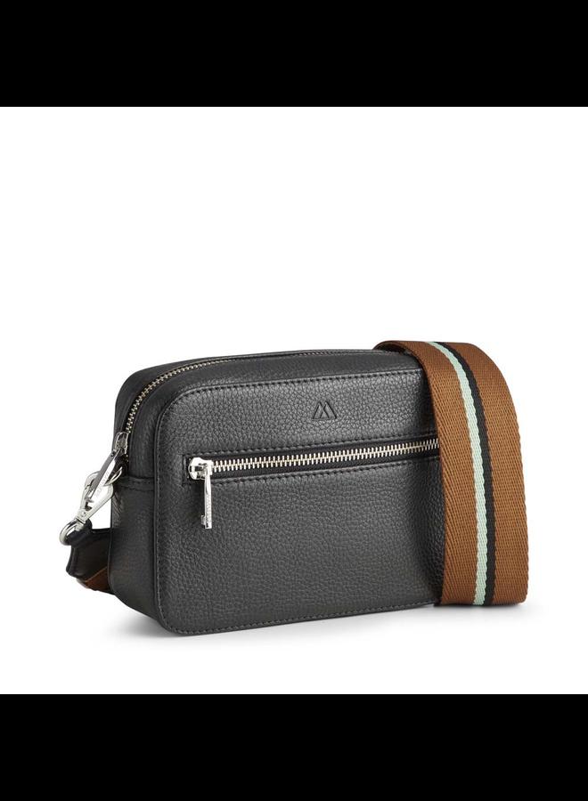 Elea Grain Crossbody Bag - Black/Mint Strap