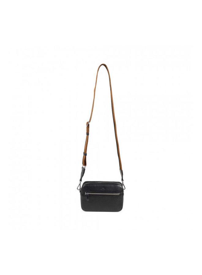 Elea Grain Crossbody Bag - Black/Chestnut Strap