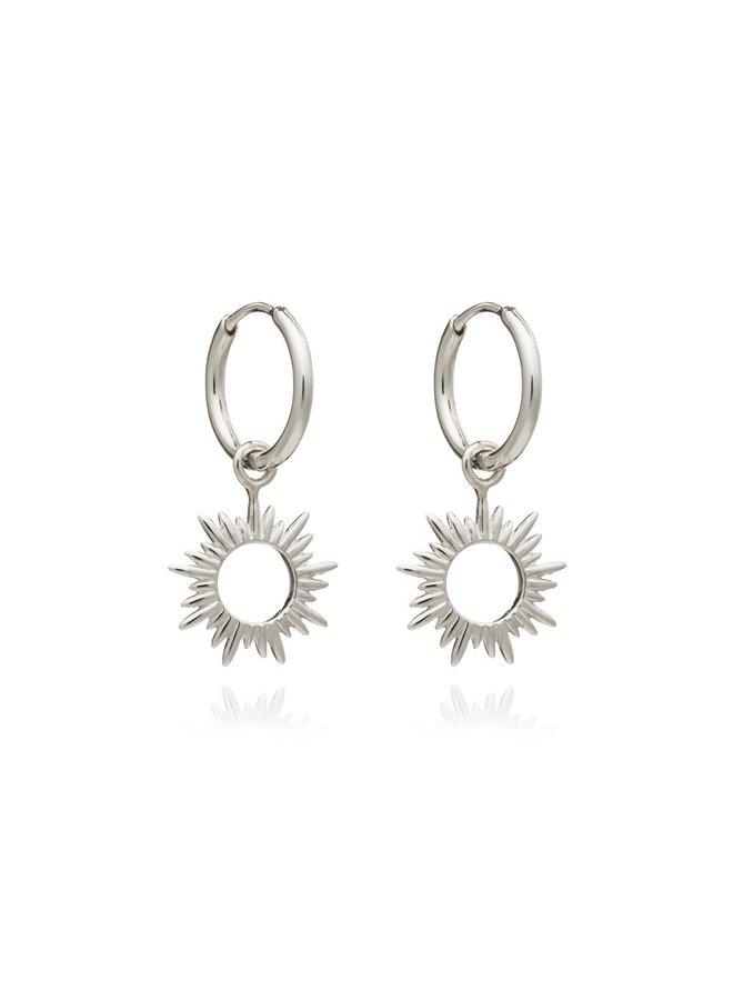 CNE15S Eternal Sun Mini Hoops - Silver
