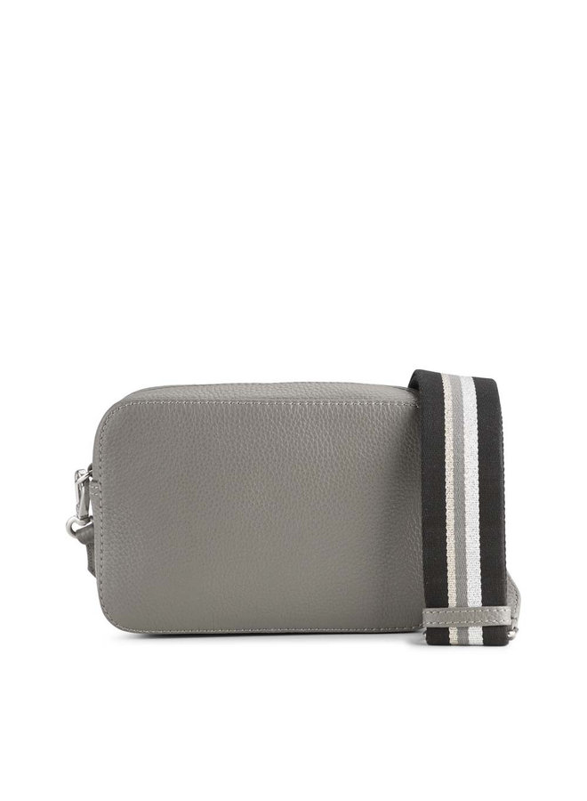 Elea Grain Crossbody Bag - Grey/Silver Strap
