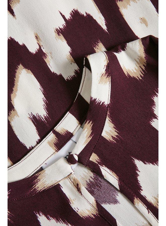 Cristy Dress - Wine Animal Skin