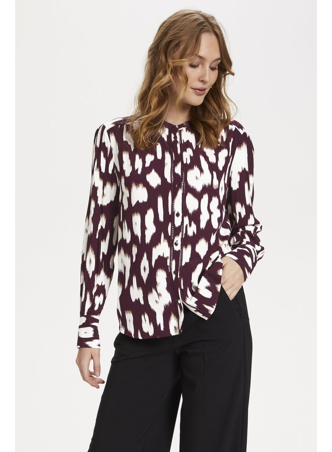 Cristy Shirt - Wine Animal Skin