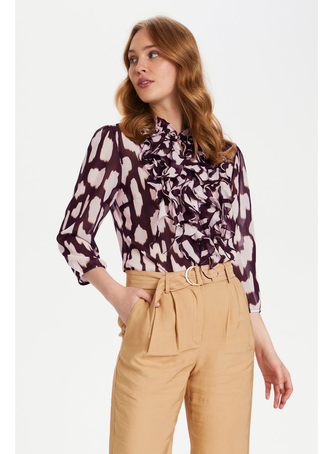 Lilly 3/4 Shirt - Wine Animal Skin