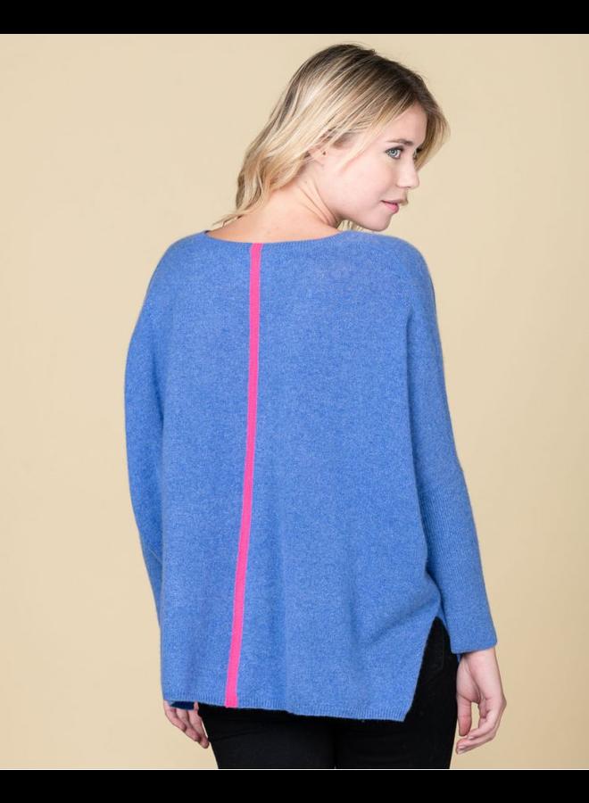 Chloe Stripe Slouchy Knit - Denim/Rose Fluo