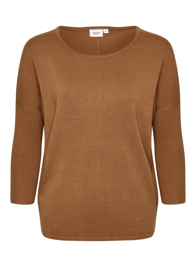 Mila Jumper with Ribbed Sleeves - Adobe