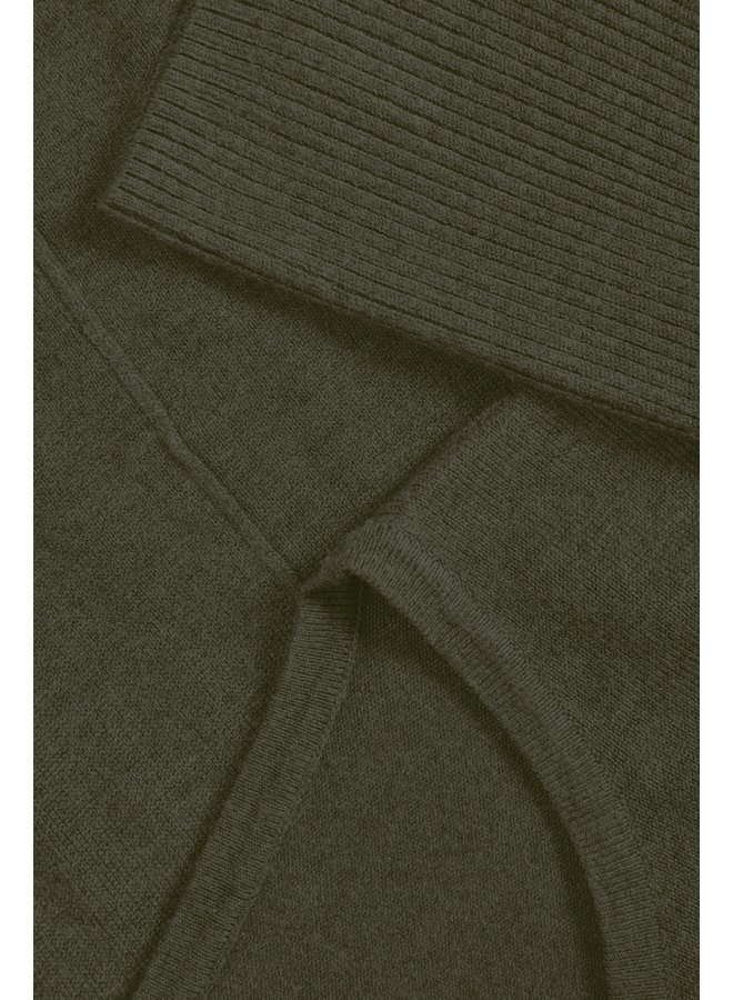Mila Jumper with Ribbed Sleeves - Army Green