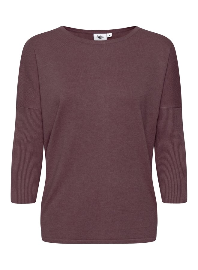 Mila Jumper with Ribbed Sleeves - Huckleberry