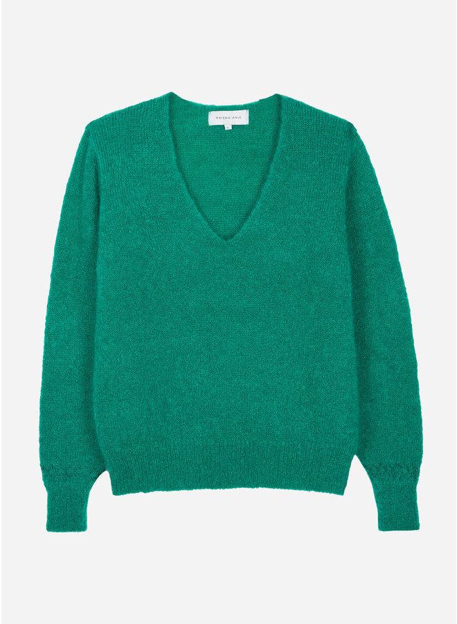 Lecourbe Mohair V-neck Knit - Basilic