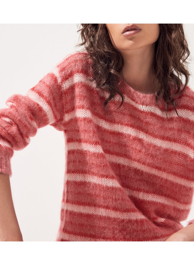 Pietro Stripey Mohair Knit - Rose