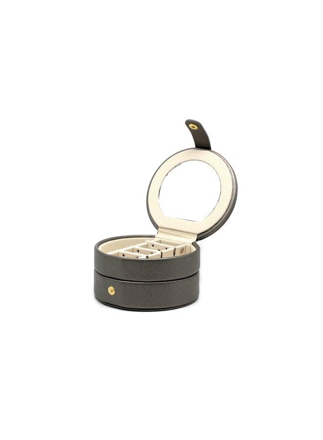 Shalimar Grey Round Jewellery Box