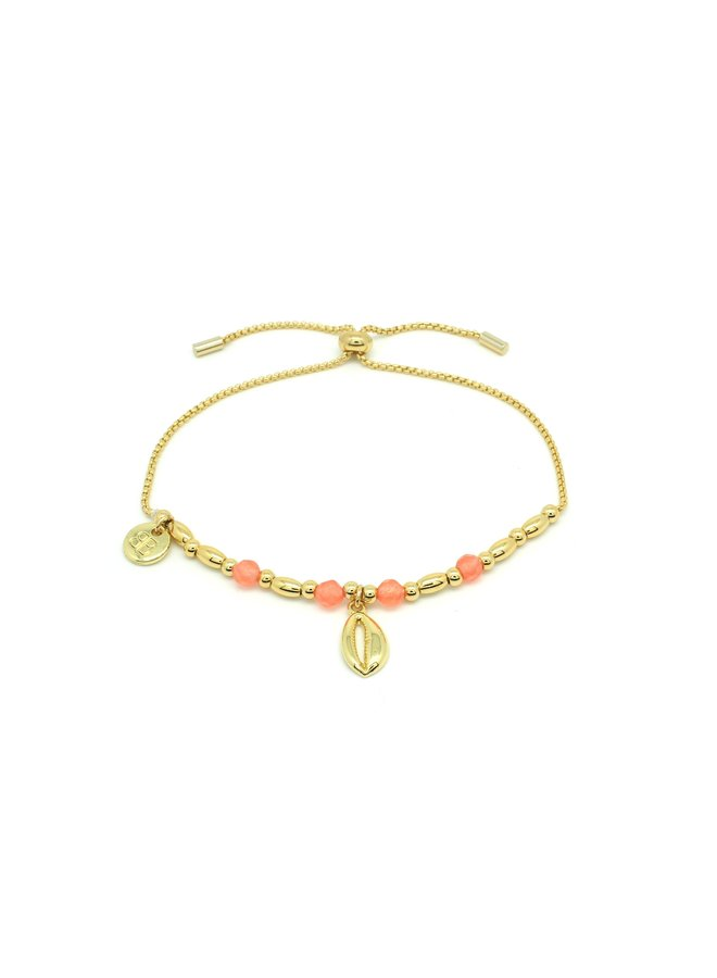 BPTBDSHGLOR Aprium Coral, Bead Shell Bracelet