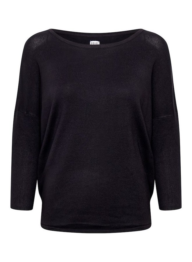 Mila Jumper with Ribbed Sleeves - Black