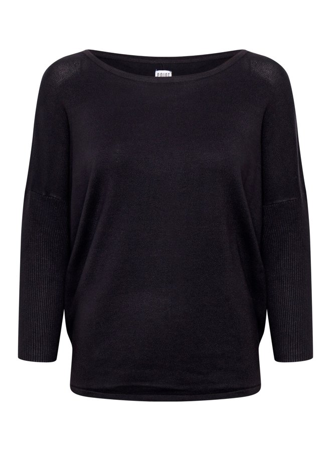 Mila Jumper with Ribbed Sleeves - Bl Deep
