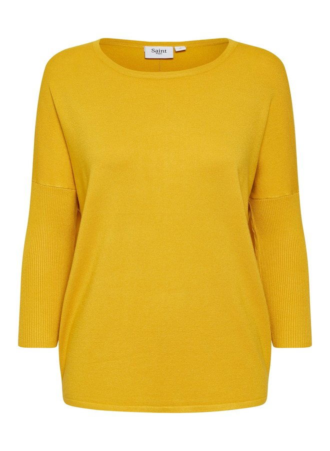 Mila Jumper with Ribbed Sleeves - Sulphur