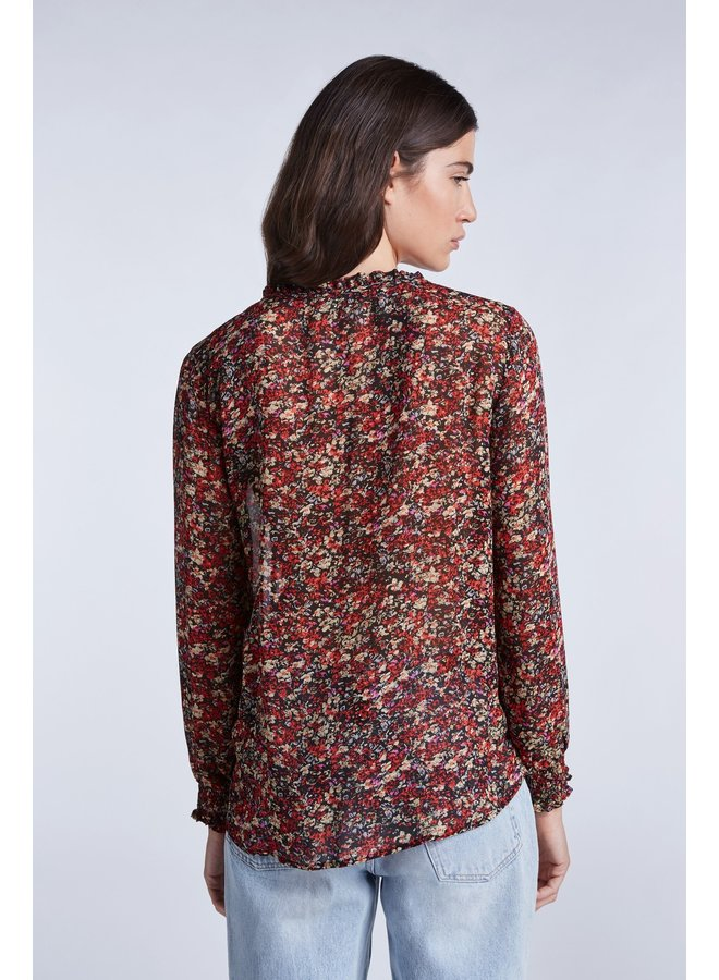 Ruffle Blouse - Black/Red