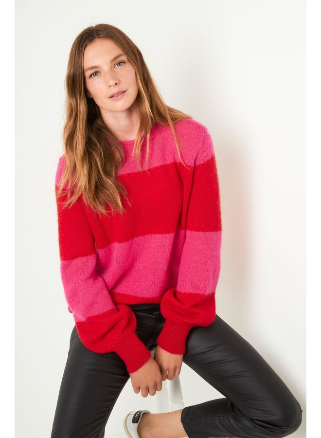 Melanie Block Stripe Jumper - Pink/Red