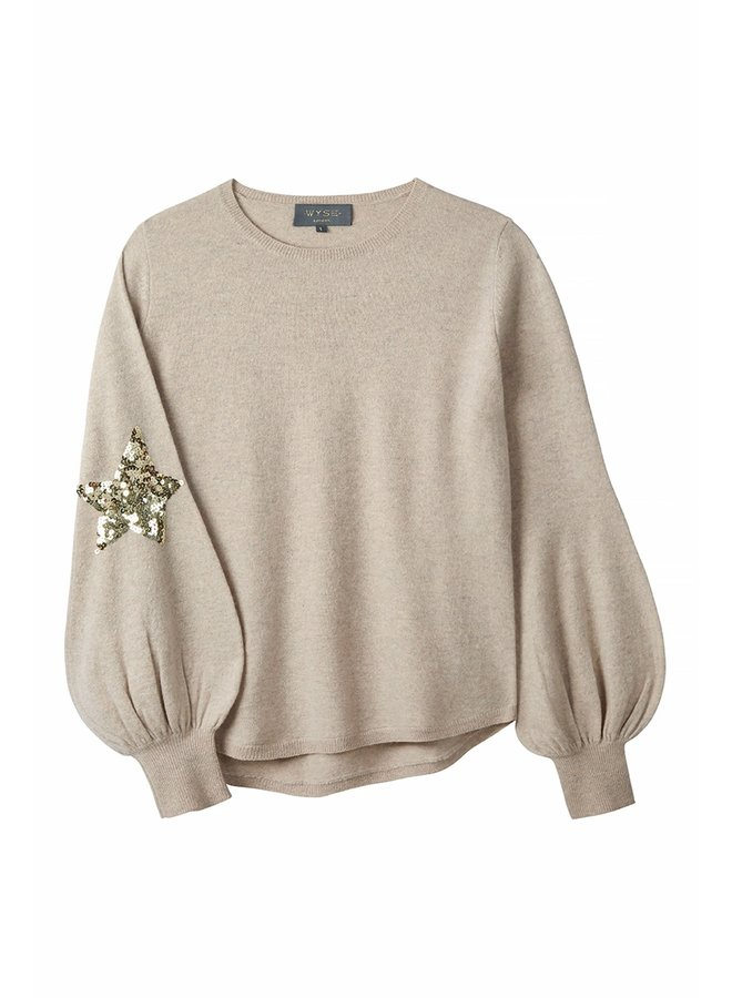 Flo Sequin Star Jumper - Taupe/Gold