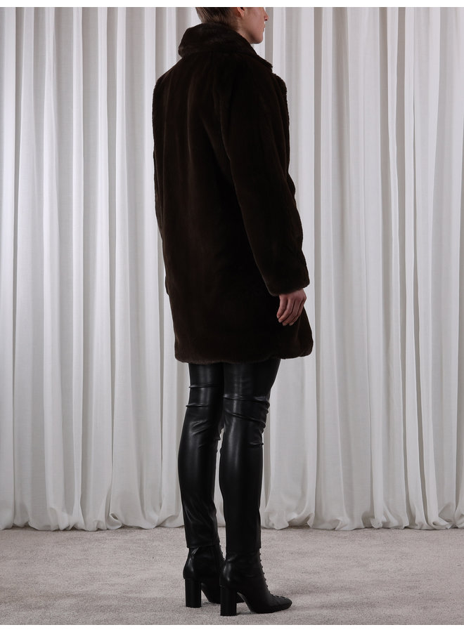 Joela Faux Fur Coat - Dark Chocolate