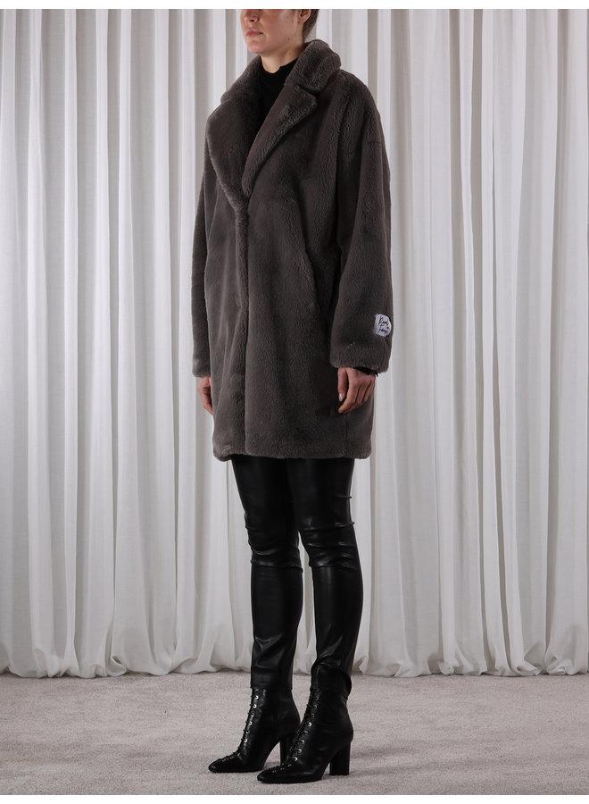 Joela Faux Fur Coat - Deep Grey