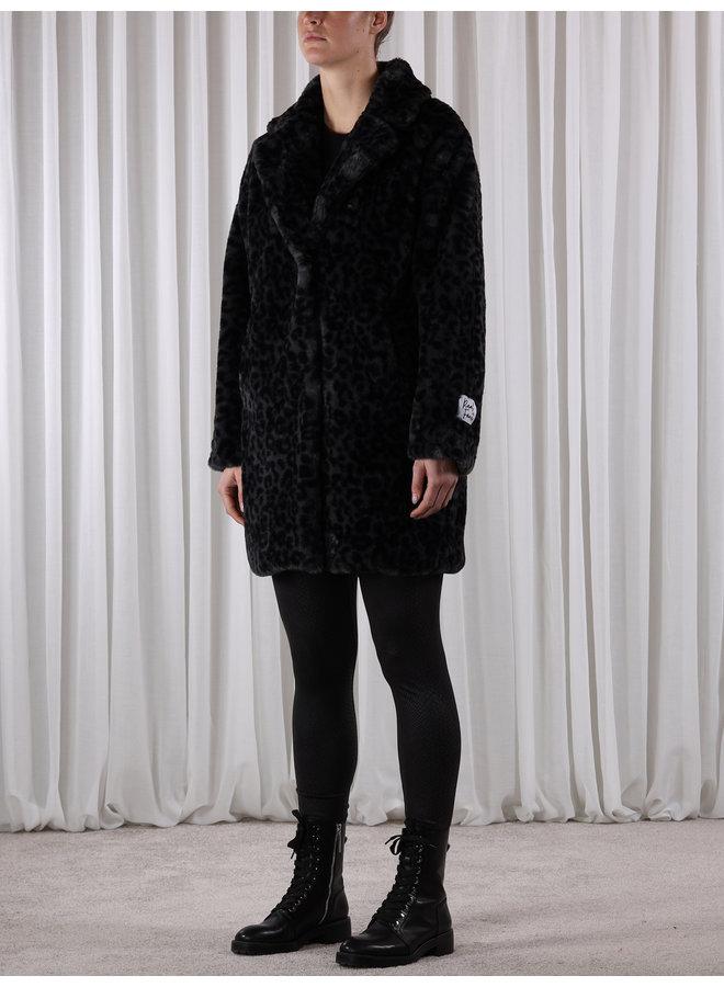 Joela Faux Fur Coat - Grey Leopard