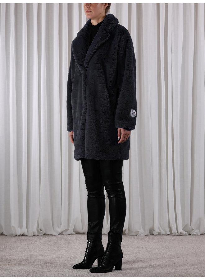 Joela Faux Fur Coat - Navy