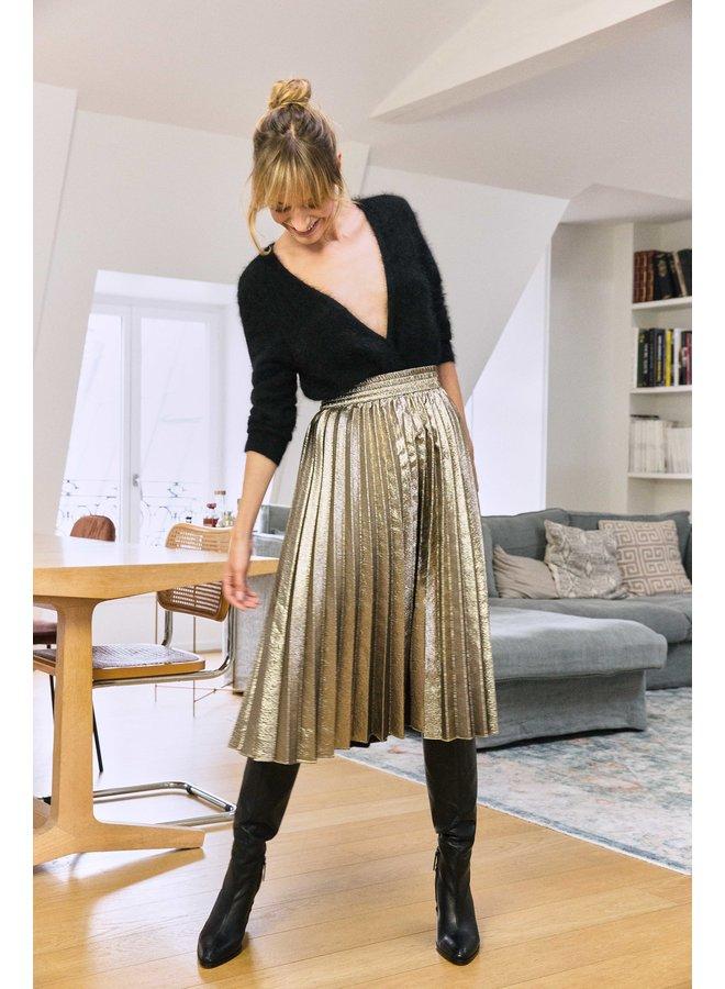 Jonas Metallic Pleat Skirt - Bronze